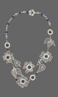 Bib-Style Necklace with Wirework and SWAROVSKI ELEMENTS