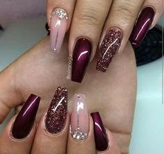 Burgundy with champagne glitter