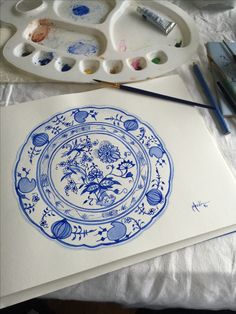 Original watercolors by LilyOake. Cottage art in blue and white. Blue Onion, Cottage Art, Blue China, Watercolor Artists, Japanese Prints, White Fabrics, Chinoiserie, Asian Art, Blue And White