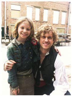 Les Miserables - adorable Daniel Huttlestone as Gavroche (brave little boy!) and Aaron Tveit as Enjolras