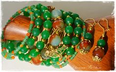 "Orange & Green Jewelry set ""Klara"" by Charisma Art Store, wide memory - bracelet and earrings, agate by CharismaArtStore on Etsy"