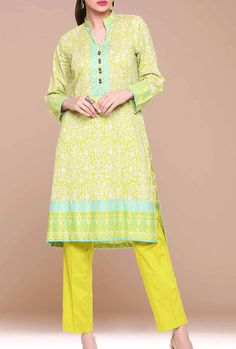 Buy Yellow Embroidered Cotton Lawn Dress by Kahaadi Lawn Collection 2015.