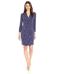 Anne Klein Women's Three Quarter Sleeve Vneck Side Rouched Printed Jersey Dress - New Dresses Special Today