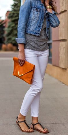 White skinnies, grey t-shirt, jean jacket, black sandals
