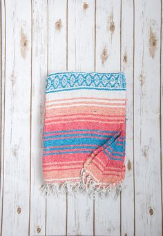 Hey, I found this really awesome Etsy listing at https://www.etsy.com/listing/250311287/coral-blue-mexican-blanket-authentic