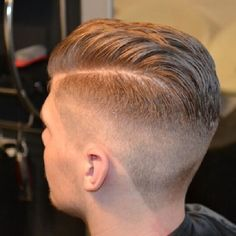 Blonde pompadour and fade cut