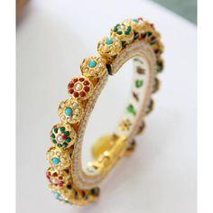 Navrattan jadau multicolored stone kada bangle( 1 pc)