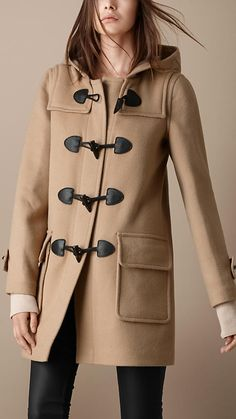 WOOL DUFFLE COAT WITH CHECK LINING- BURBERRY