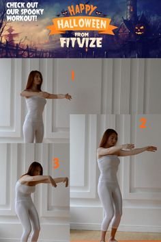 The Spine stretch: Zombie Style Stand tall with your feet hip-width apart. Inhale and lift your arms forward (parallel to the floor).  Keeping your abdominals engaged, exhale as you lengthen your spine to curve forward. More at https://fitvize.com/2016/10/29/trick-or-treat-and-stay-fit/#more-1261