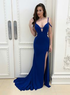 65f23599ffe2 Royal Blue Mermaid Spaghetti Straps Backless Prom Dress With Side Split