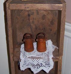 Vintage Firkin Salt & Pepper shakers swing handles wood original patina #NaivePrimitive