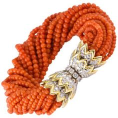 TIFFANY & CO. SCHLUMBERGER Diamond Coral Torsade Bracelet  France