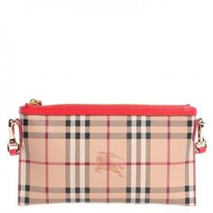 This is an authentic BURBERRY Haymarket Check Small Peyton Crossbody Bag Coral Red. This is a stylish and distinctive cross-body shoulder bag that is finely crafted of traditional Burberry Haymarket Check canvas with a top crest of coral red leather.