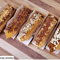 CHUCRÊ - Churros Gourmet Bubble Waffle, Food Cravings, Hot Dog Buns, Sweet Recipes, Waffles, Menu, Yummy Food, Bread, Chocolate