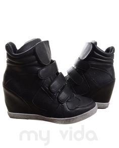 NERO - Sneakers donna alte con rialzo interno e chiusura con strappi. Scarpe donna da