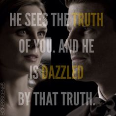 """Seeley Booth (David Boreanaz) and Temperance Brennan (Emily Deschanel) in """"Bones"""". Description from pinterest.com. I searched for this on bing.com/images"""
