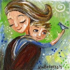 Clear Heart - mother blonde child and bird print by Katie m. Berggren