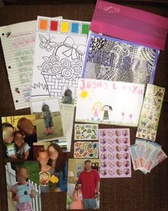 """Meliza (6)  May 2015  *Letter theme: introducing our family; my Salvation story    * Inside cellophane party bag: family photos, copy of her own Compassion photo and bookmark, stickers, bandaids  *Also included: laminated name card that I """"zentangled,""""  a picture my daughter drew for her, paint with water picture."""