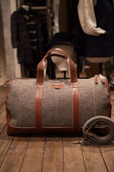 Suitcase and Weekender Brown Felt and Brown Leather