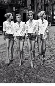 white shirt x jean shorts