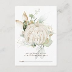 Elegant Fall Pumpkin Greenery Gold Diaper Raffle Enclosure Card Pumpkin Books, Thank You Card Size, Baby Shower Thank You Cards, Pack Of Diapers, Baby Shower Invitations, Shower Favors, Shower Party, Party Favors, Bridal Shower