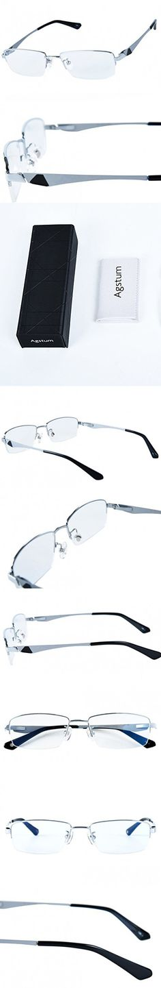 5f9177b54f0 Agstum 100% Titanium Half Rimless Glasses Frame Optical Eyeglasses  53-18-140 (Silver)