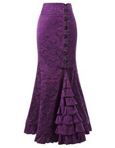 2018 Women's Fashion Punk Style Retro Mermaid Skirt Vintage Long Bodycon Ruffle Fishtail Skirt Lace-Up Vintage Skirt, Vintage Lace, Vintage Mermaid, Sexy Skirt, Lace Skirt, Skirt Belt, Sexy Rock, Steampunk Skirt, Fishtail Skirt