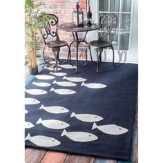 Shop for nuLOOM Handmade Modern Fish Indoor/ Outdoor Navy Rug (4' x 6'). Get free shipping at Overstock.com - Your Online Home Decor Outlet Store! Get 5% in rewards with Club O!