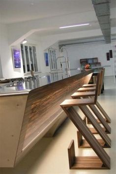 great combination of wood and unusual kitchen shapes #kitchen