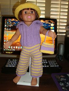Ladyfingers - AG doll - Broken Rib Sweater and Striped Pants, Hat, Purse