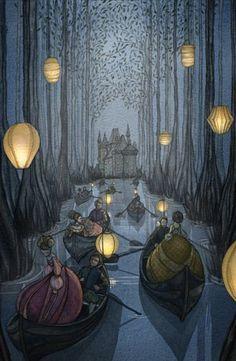 The Twelve Dancing Princesses illustration by Daniela Jaglenka Terrazzini, Italian artist Fantasy Kunst, Fantasy Art, 12 Dancing Princesses, Drawings Of Princesses, Disney Princesses, Art Et Illustration, Princess Illustration, Botanical Illustration, Fairy Tale Illustrations