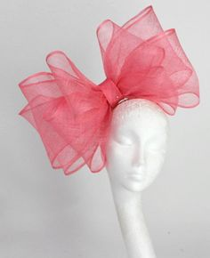 Pink/Coral  Fascinator Hat for Weddings, Races, and Special Events With Headbandby via Etsy