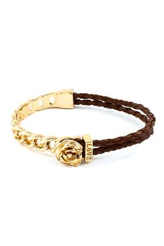 Rose Mia #Bracelet in Chocolate – A rose, gold and leather = a good combination.