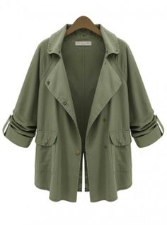 Army Green Single-breasted Frock Casual Trench Coat