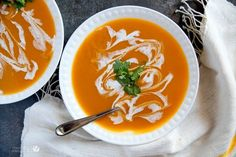 """Few things say """"fall"""" like a delicious, creamy Thai Curry and Coconut Butternut Squash Soup. Traditional soup with an Asian twist!"""