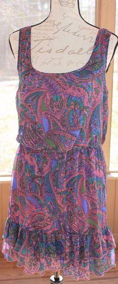 Mimi Chica Woman's Floral Boho Sleeveless Cinch Waist Dress Size Large Spring #MimiChica #BeachDress #Casual