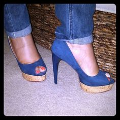 """✨FOREVER 21 Royal Blue Suede Peep Toe heels Very cute 5 3/4"""" stiletto heels with a 1 1/2"""" cork platform. Size 10, true to size. Worn only once because it is a higher heel than i thought . Tiny chip on the front of the left shoe as shown in pic 3. In great condition otherwise. No box!  Forever 21 Shoes Platforms"""