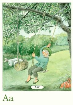 The A from Ask or Ash Tree. Lovely postcards from Lena Anderson - The Swedish Gift Shop
