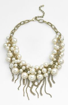 Nordstrom Fringed Faux Pearl Statement Necklace