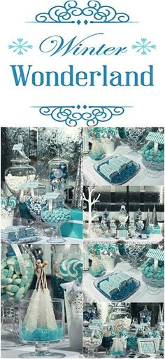 An impressive candy table for the winter celebrations! Image Via: http://wefollowpics.com/winter-wonderland-candy-table-this-blue-color-palette-goes-perfect-together-with-silver-white/