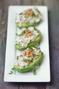 As often as I eat avocado and chicken salad, I somehow never eat them together. And actually filling the avocado with the chicken salad is such a novel idea that never would've crossed my min…