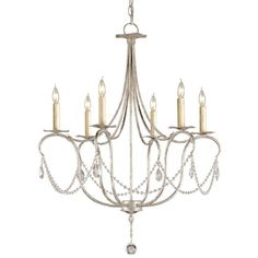 A classic design is executed with a silver finish. A lovely form is augmented by a simple crystal trim making it perfect for many interiors. This Small Crystal Light Chandelier is companion to a number of other designs in this style.