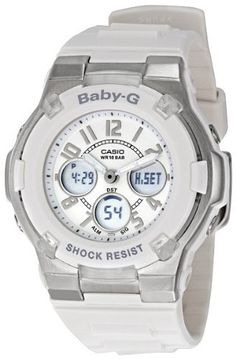 Casio Women's BGA100-7BCR Baby-G White Analog Digital Watch Casio. $69.00. World Time 27 cities, countdown timer, 1/100 second. Jewelry Tone designed dial, diamond cut bezel, heart-shaped LCD window. Water resistant up to 330 feet (100 M). Shock Resistant, LED Light with Afterglow, Multi-Funtiion Alarm, stopwatch. Reliable quartz movement. Save 30%!