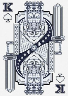 Ilustraciones Vectoriales has redesigned a King card making the patterns of it more fixed and more of a solid formal look as opposed to a usual flow to the car design Cool Playing Cards, Custom Playing Cards, King Card, Illustration Arte, King Of Spades, Arte Pop, Illustrator Tutorials, Adobe Illustrator, Jack Black