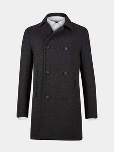 Grey Double Breasted Wool Overcoat - Mens Jackets & Coats - Clothing - Burton