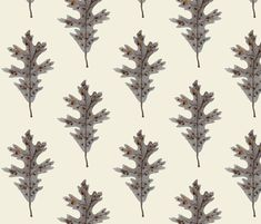 Silver Oak Leaf Natural fabric by gollybard on Spoonflower - custom fabric