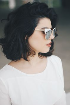 cute short haircuts, woman with short voluminous black wavy hair, wearing white . - short wavy hair - cute short haircuts, woman with sho. Hair Day, New Hair, Cute Short Haircuts, Bob Haircuts, Corte Y Color, Short Hair Cuts, Pixie Cuts, Short Wavy, Short Bobs