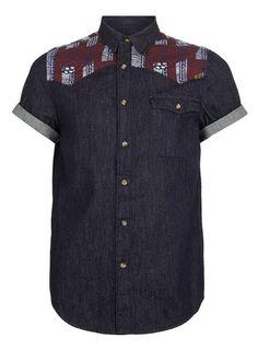 NAVY YOKE DETAIL DENIM SHORT SLEEVE SHIRT - Casual Shirts - Mens Shirts  - Clothing