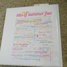 Organizing Summer Fun binder and schedule