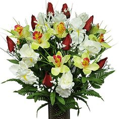 Red Tulips and White Iris Silk Flower Bouquet with StayInTheVase Design Flower HolderMD1232 -- More info could be found at the image url. (This is an affiliate link and I receive a commission for the sales)